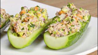 Салат с тунцом в лодочке из огурца. Рецепт от Всегда Вкусно!