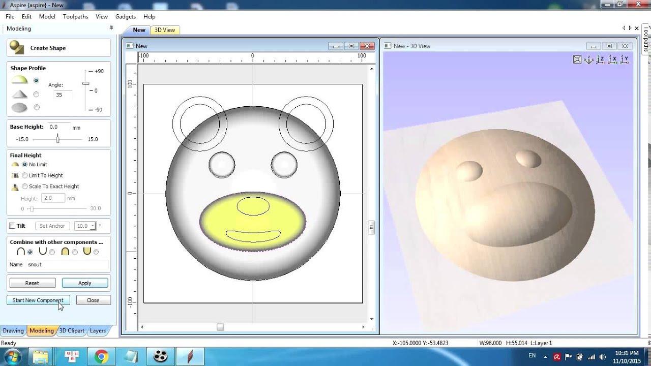 Hướng dẫn sử dụng Aspire (tutorial): vẽ và tạo bản khắc 3D đơn giản