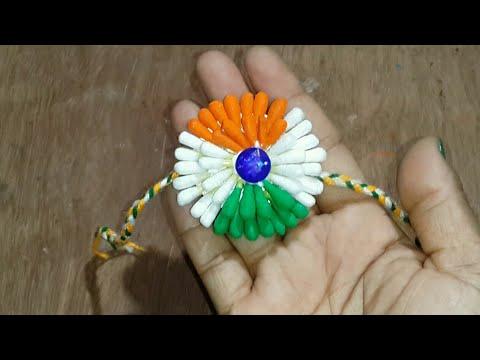 Diy : Indian Tricolor rakhi.Rakhi for kids.Rakhi making for competition.