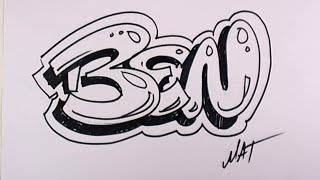 Graffiti Writing Ben Name Design #42 in 50 Names Promotion