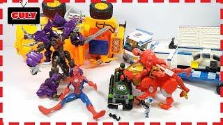 Siêu nhân gao người nhện bắt robot quái vật tê giác đồ chơi trẻ em spiderman toy for kids