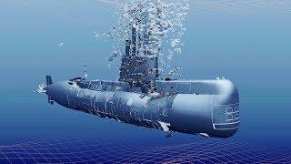 Submarine ARA San Juan Simulation (Implosion + Sinking)