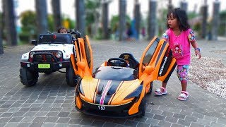 SERUNYA Keliling Taman Naik Mobil Mainan Lamborghini & Jeep Hello Kitty  PLAYGROUD FOR KIDS