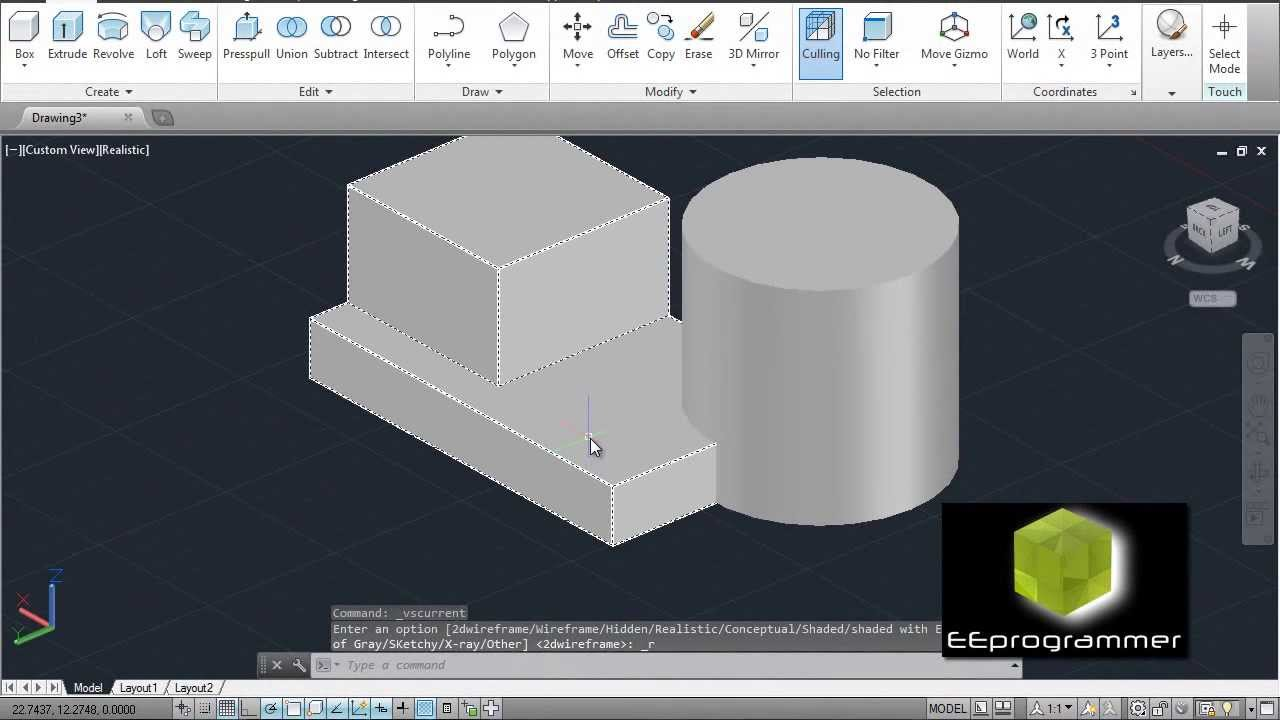 Learning Autocad 2014 3d Model Tutorial For Beginners 1