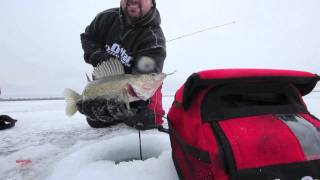 Mille Lacs Ice Fishing Video Perch & Walleyes Jan. 2012 - On Ice (#0018)(Mille Lacs Lake, MN ice fishing with Joel Nelson, Jon Marshall and a guest appearance by Tony Roach, owner of http://www.roachsguideservice.com/., 2012-01-17T20:46:07.000Z)