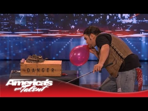 David The Cobra Kid Has a Snake Pop a Balloon - America's Got Talent