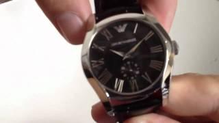 Men's Emporio Armani Black Croc Embossed Leather Strap Watch AR0643
