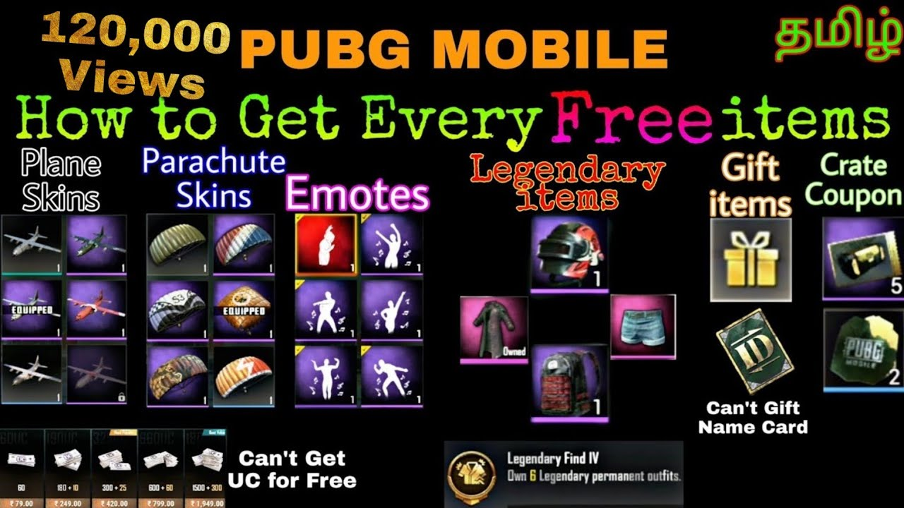 Pubg Mobile All Free items you can Get Backpack, Helmet, parachute skins,  all Gifts & Emotes items