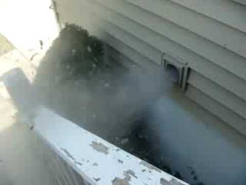 dryer vent + 200mph leaf blower -