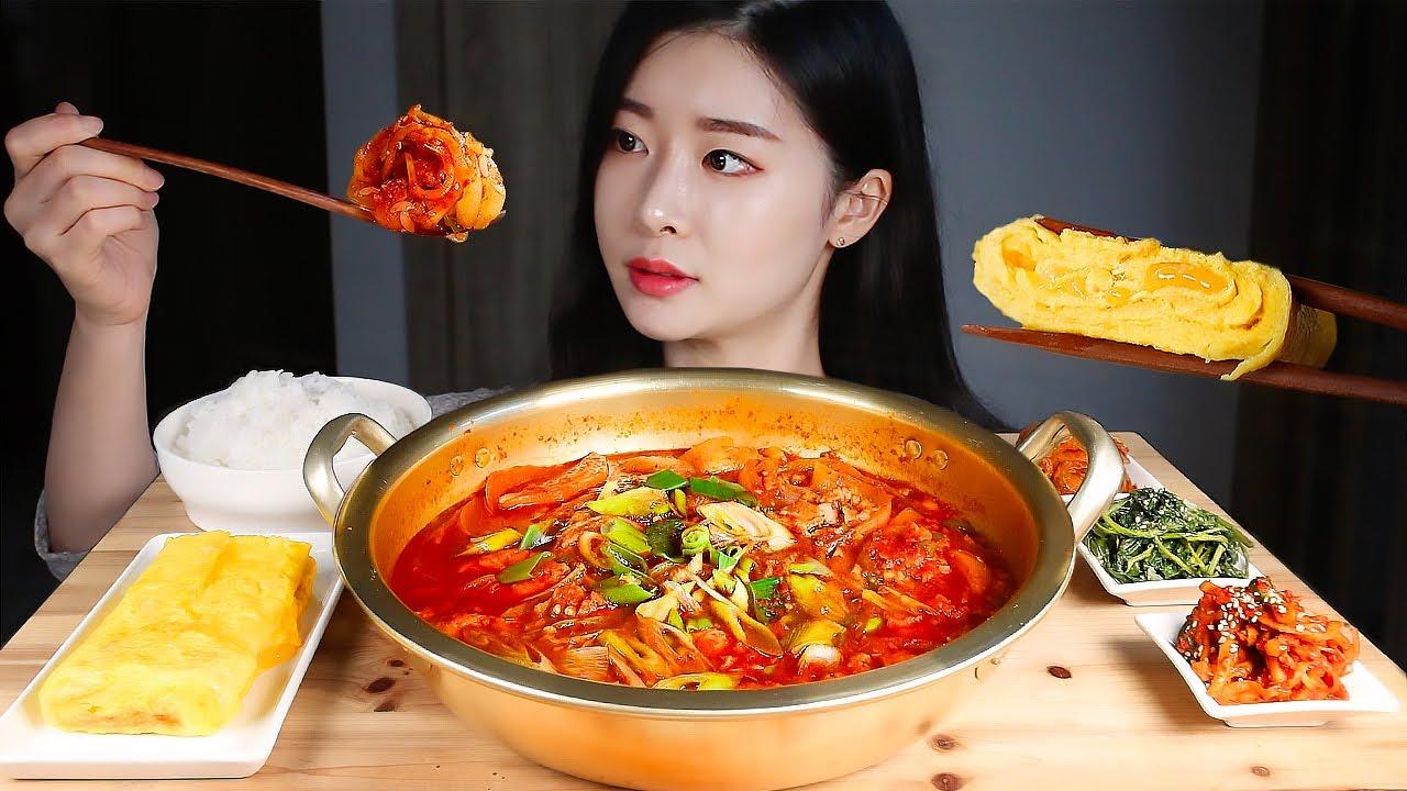 백선생님 스팸감자짜글이 치즈계란말이 무생채 취나물 집밥 먹방/SPICY SPAM POTATO STEW & CHEESE EGG ROLL KOREAN HOME MEAL MUKBANG