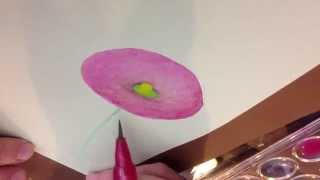 Fast and Easy - Watercolor Hollyhock/Trumpet Flower Thumbnail