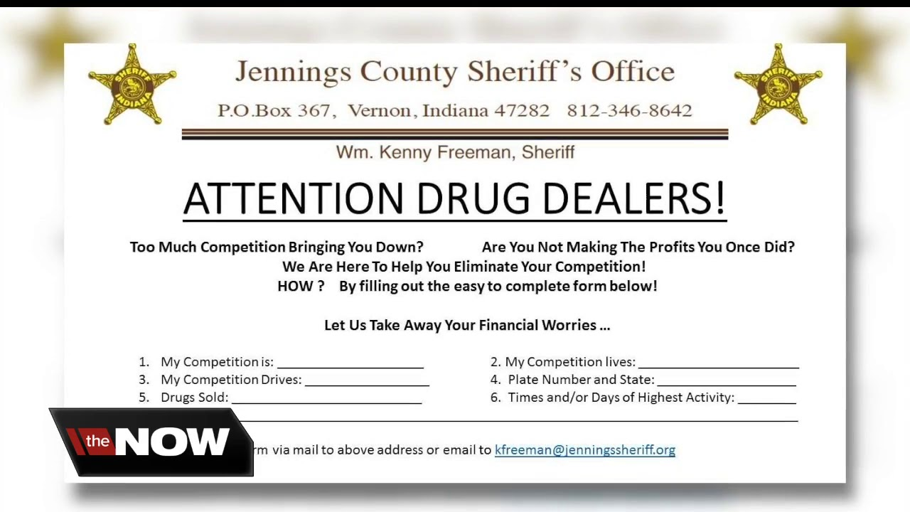 'Competition bringing you down?' Indiana sheriff's office urges drug  dealers to turn in competition