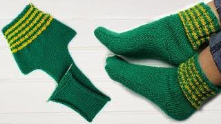 САМЫЕ простые носки на ДВУХ спицах. Без кругового вязания.