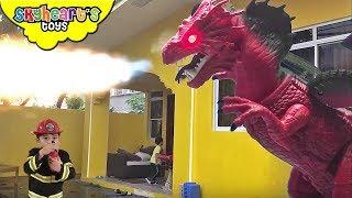 GIANT DRAGON attacks Toddler's House - Skyheart battle fireman superhero fight fire dragon toys kids