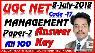 NET Paper 2nd Management 8 July 2018  answer key UGC (CBSE)  JRF Exam solved paper