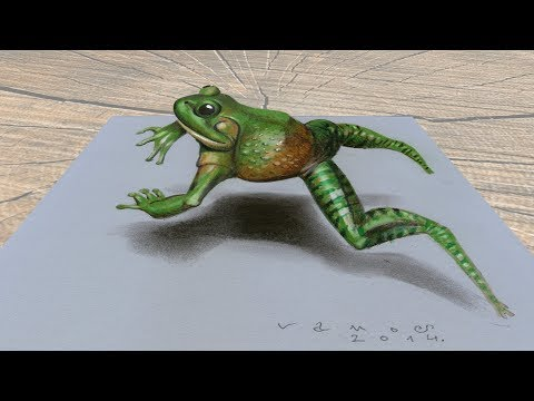 GREEN FROG ✅ - How to Draw Jumping Frog Illusion - 3D Anamorphosis