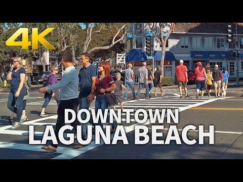LAGUNA BEACH - Downtown Laguna Beach, Sunday Morning, Orange County, California, USA, Travel, 4K UHD