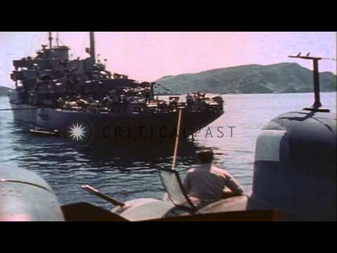 PBM Mariner aircraft involved in rescue operations HD Stock Footage