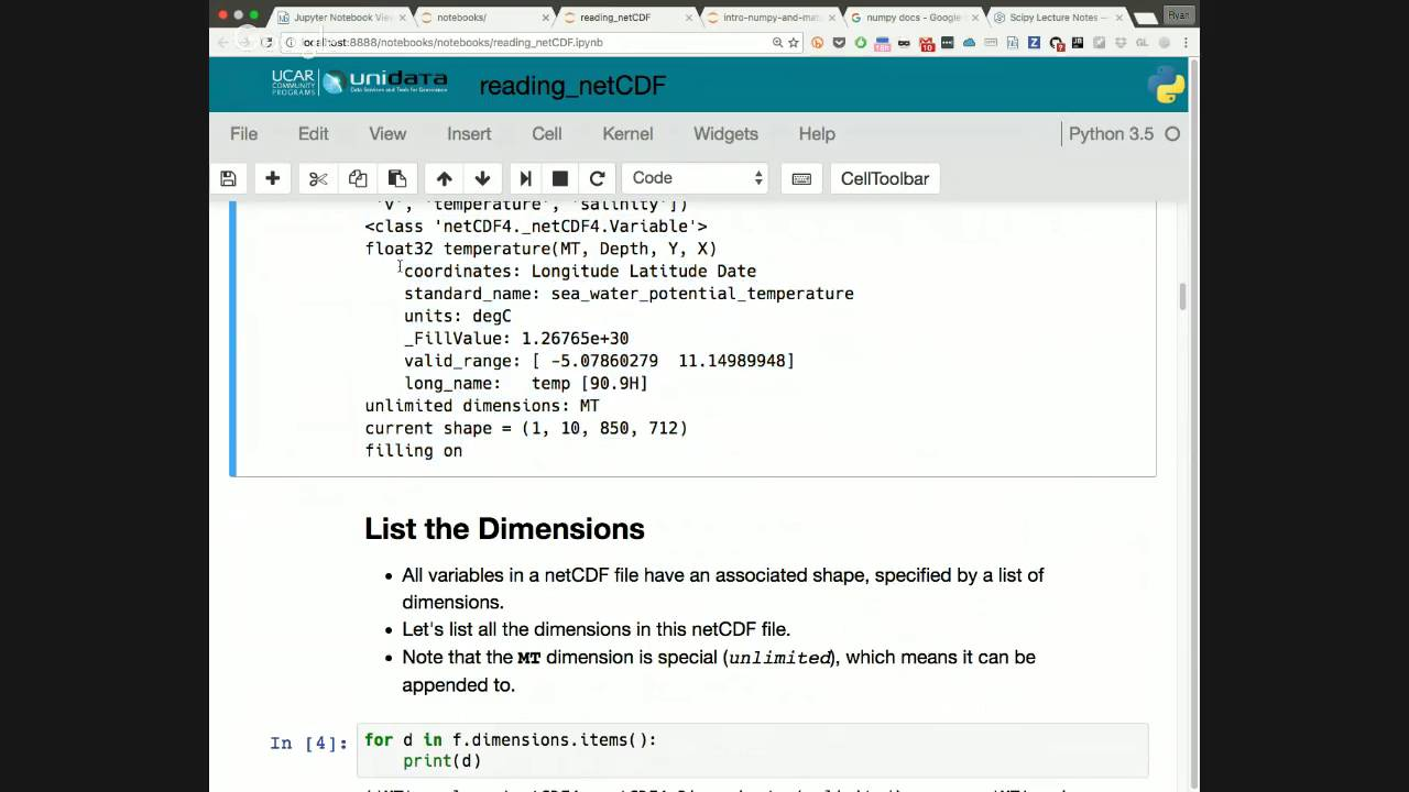 Unidata Python Workshop - Wednesday June 22 part 4 - reading, writing netCDF