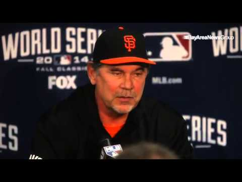 Giants manager Bruce Bochy during a press conference ...