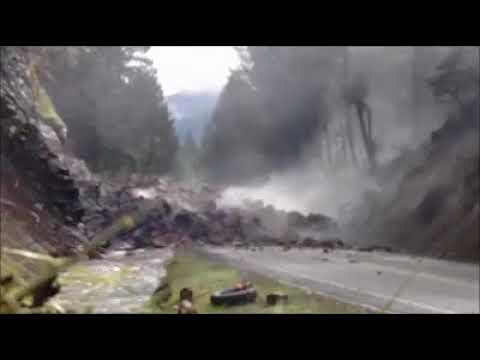 Video of the large rock that fell onto Highway 138 being blown up by road crews.