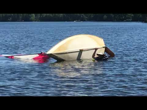 Righting A Capsized Alcort AMF MiniFish Sailboat