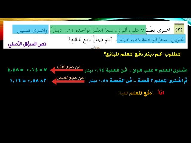 المثال السابع - كيف نفكر عند حل المسائل الكلامية - الصف الخامس