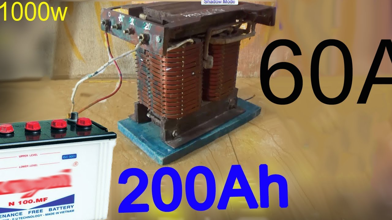 how to make a 12 volt battery charger use a 1000w power transformer make a car charger at home a [ 1280 x 720 Pixel ]