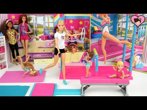 Barbie Dolls First Gymnastics Competition with Sister Chelsea & Toddlers