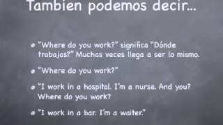 Inglés Básico: What do you do? –aprende inglés online