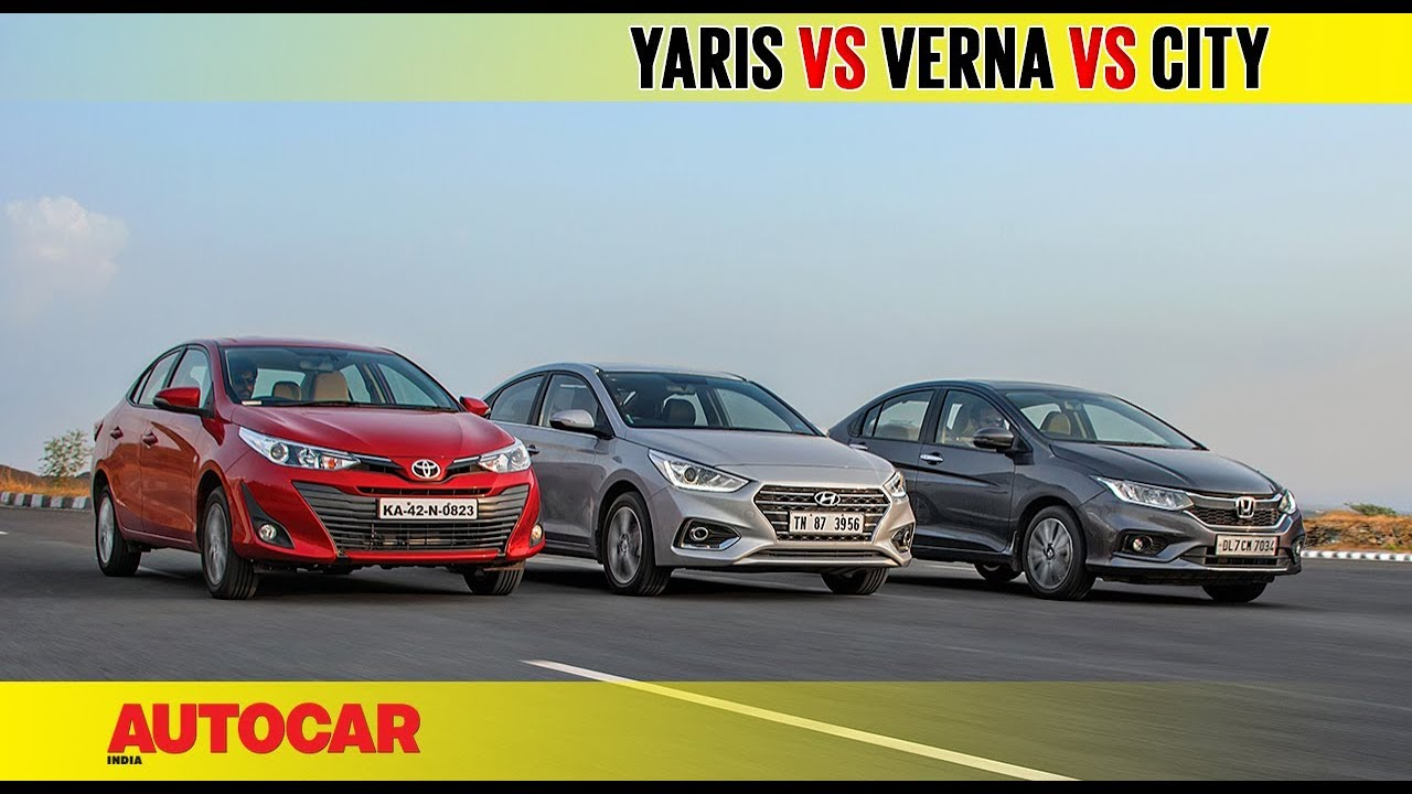Toyota Yaris Vs Hyundai Verna Vs Honda City Comparison Test Review