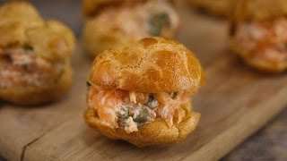 Baby Puffs with Smoked Salmon