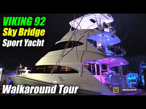 2019 Viking 92 Sky Bridge Sport Yacht - Walkthrough - 2018 Fort Lauderdale Boat Show