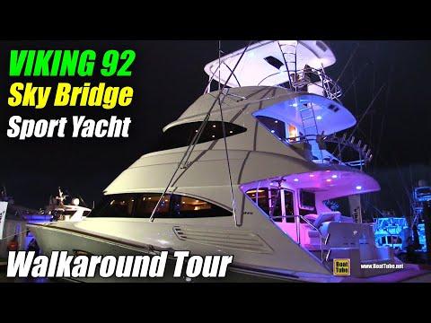2019 Viking 92 Sky Bridge Sport Yacht - Walkaround Tour - Fort Lauderdale Boat Show 2018