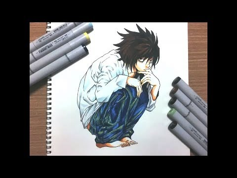 イラストメイキング L Death Note Drawing L From Death Note Youtube