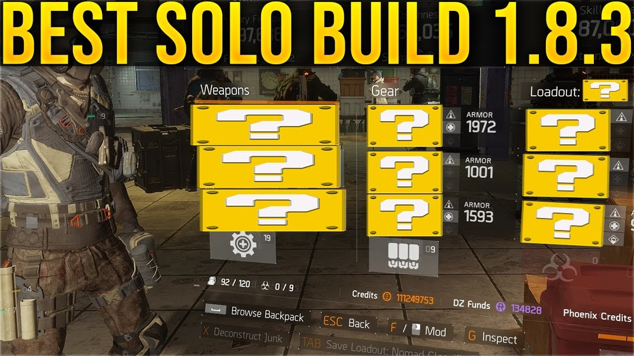 Best Solo Build 1 8 3 The Division Youtube