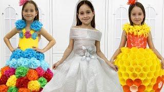 صوفيا ترتدي فستان الزفاف! شفا صنعت فساتبن جديدة للحفلة - أفكار DIY رائعة