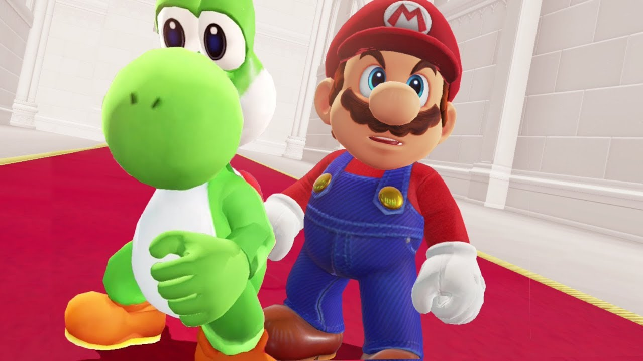 mario and yoshi in super mario odyssey - final boss