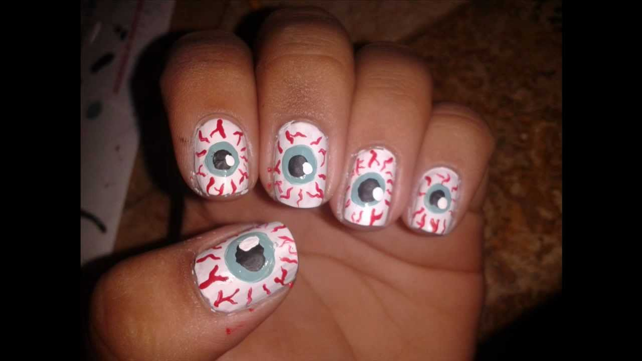 Halloween Eyeball Nail Tutorial - YouTube