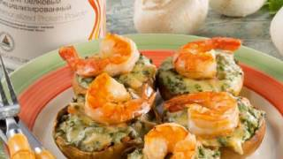 """Рецепты от Herbalife """"Шампиньоны, фаршированные креветками и зеленью"""""""