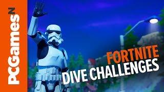 Fortnite Dive Challenges - Dive challenge hidden 'E'   Fortnite Season 11