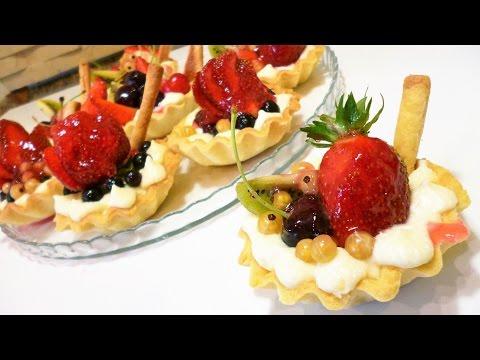 Тарталетки\корзиночки с фруктами и творожным кремом