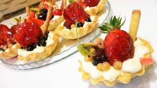 Тарталеткикорзиночки с фруктами и творожным кремом