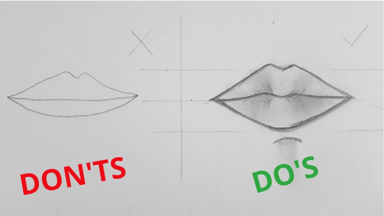How to draw a realistic mouth !! - YouTube
