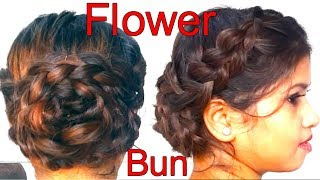 FLOWER BRAID BUN Hairstyle || long hairstyle ( in Hindi)