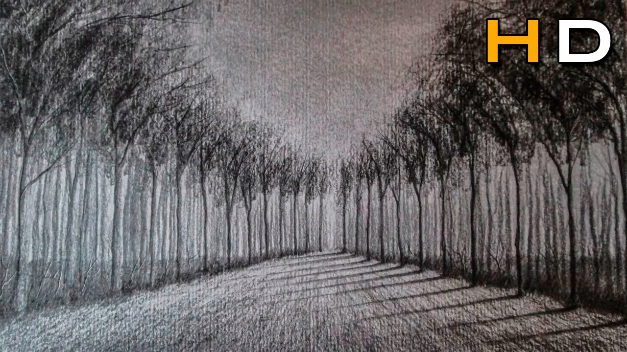 how to draw a landscape with pencil step by step