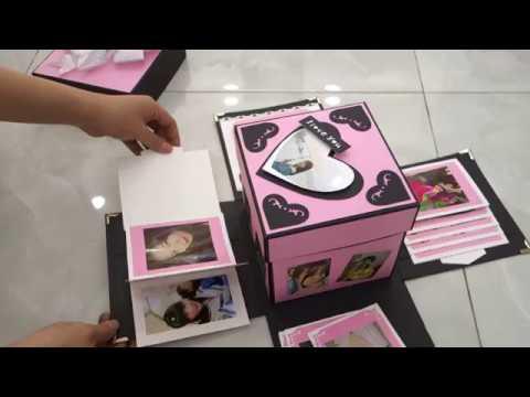 Scrapbook Exploding Box Card-Secret Handmade Gift Love in Box-Photo Album DIY Easy-For Birthday
