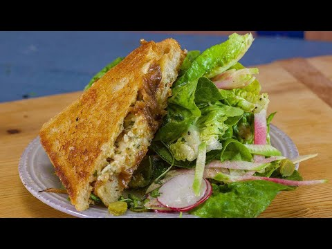 Rachael's French Onion Grilled Cheese And Spring Greens Salad With Tarragon Vinaigrette