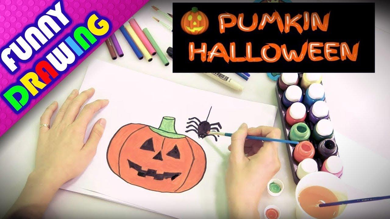 DIY - How to draw a pumpkin and spider - Dạy bé vẽ bí ngô và nhện Halloween