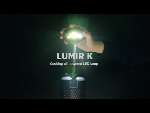 The Lumir K LED lamp runs on cooking oil
